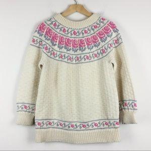 Vintage cream wool sweater Nordic apres ski chalet